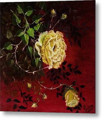 A Bright Hope Yellow Roses Metal Print by Praisey Peter