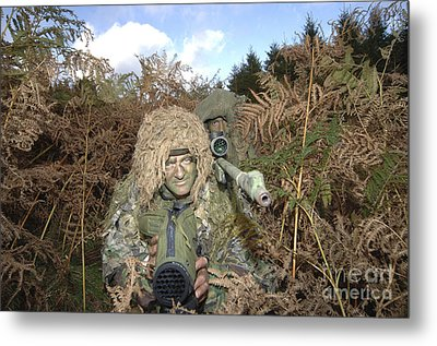 A British Army Sniper Team Dressed Metal Print by Andrew Chittock
