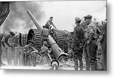 A British Heavy Gun In Action, British Metal Print by Everett
