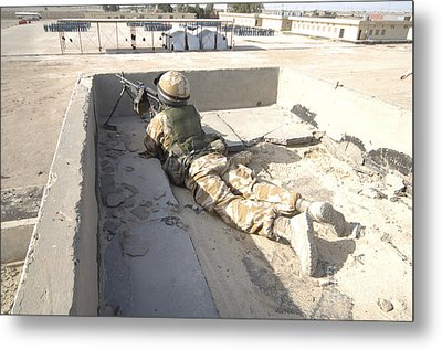 A British Soldier Provides Security Metal Print by Andrew Chittock