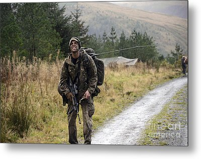 A British Soldier With Radio Metal Print
