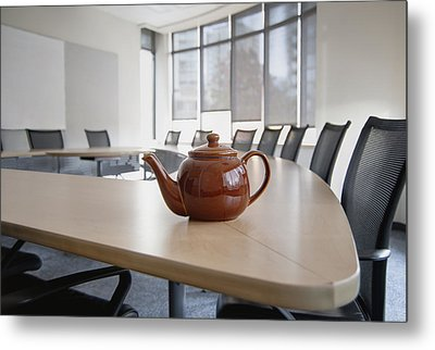 A Brown China Teapot On Boardroom Table Metal Print by Marlene Ford