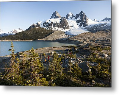 A Campsite Next To A Blue Glacier Fed Metal Print by Taylor S. Kennedy