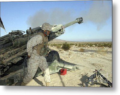 A Cannoneer Uses His Body To Pull Metal Print by Stocktrek Images