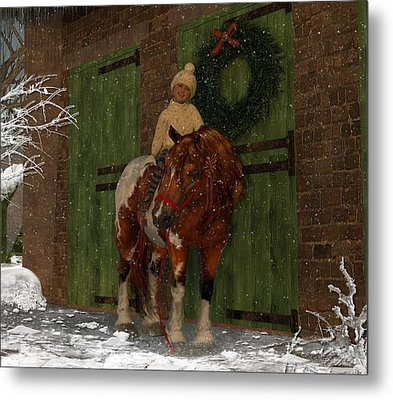 A Christmas Pony Metal Print by Heather Douglas