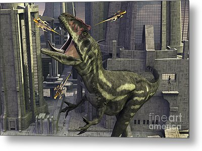 A Cloned Allosaurus Being Sedated Metal Print by Mark Stevenson