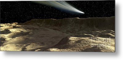 A Comet Passes Over The Surface Metal Print