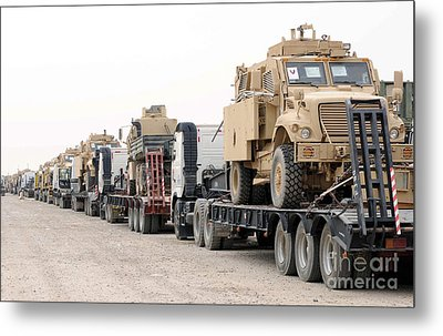 A Convoy Of Mine-resistant Ambush Metal Print by Stocktrek Images