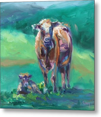 A Cow And Her Calf Metal Print by Donna Tuten