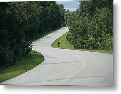 A Cyclist On A Scenic Drive In Gatineau Metal Print