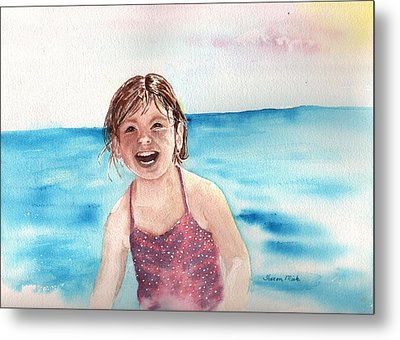 A Day At The Beach Makes Everyone Smile Metal Print by Sharon Mick