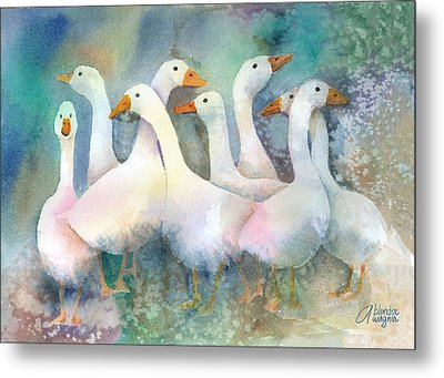 A Disorderly Group Of Geese Metal Print by Arline Wagner