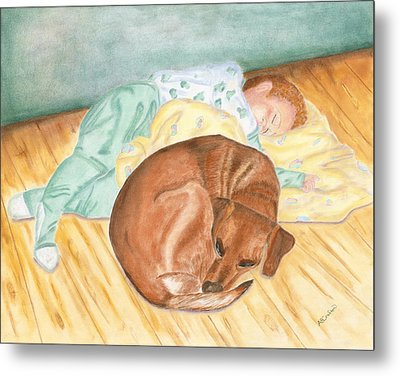 A Dog And Her Boy Metal Print by Arlene Crafton