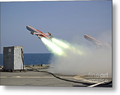 A Drone Is Launched From The Amphibious Metal Print by Stocktrek Images
