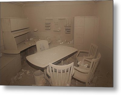 A Dust Covered Office In Building Metal Print by Everett