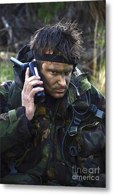 A Dutch Patrol Commander Communicates Metal Print by Andrew Chittock