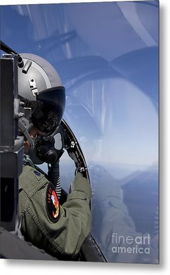 A F-15 Pilot Looks Over At His Wingman Metal Print by HIGH-G Productions