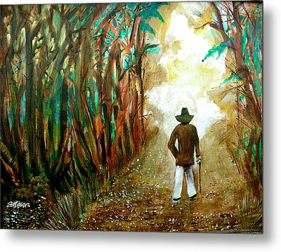 A Fall Walk In The Woods Metal Print