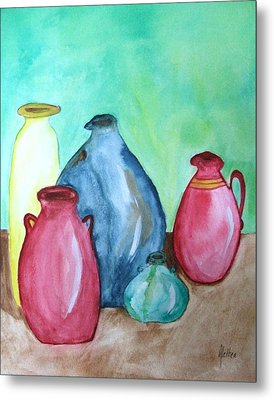 Metal Print featuring the painting A Few Good Pitchers by Alethea McKee