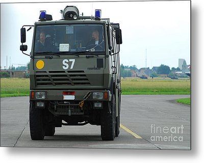 A Fire Engine Based At The Air Force Metal Print by Luc De Jaeger