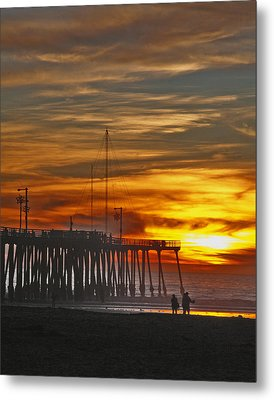 Metal Print featuring the photograph A Firey Sunset- Pismo Beach by Gary Brandes