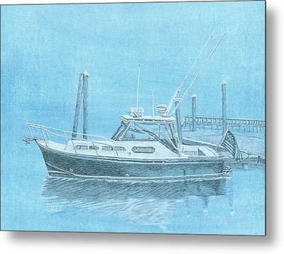 A Fortier Docked In Maine Metal Print by Dominic White