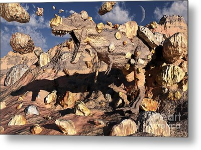 A Fossilized T. Rex Bursts To Life Metal Print
