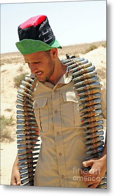A Free Libyan Army Soldier With An Metal Print by Andrew Chittock