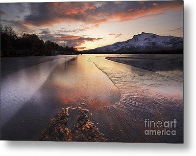 A Frozen Straumen Lake On Tjeldoya Metal Print