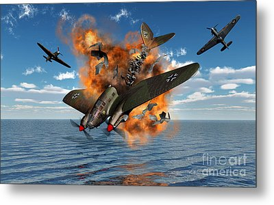 A German Heinkel Bomber Crashes Metal Print by Mark Stevenson