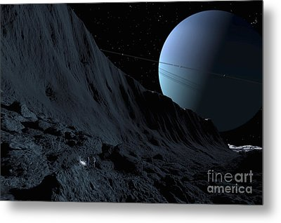 A Gigantic Scarp On The Surface Metal Print by Ron Miller