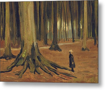 A Girl In A Wood Metal Print by Vincent van Gogh