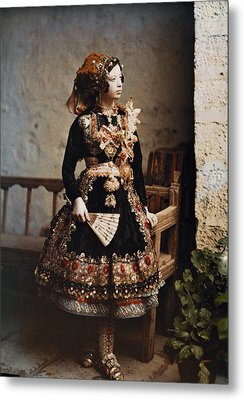 A Girl Poses In Her Traditional Costume Metal Print by Gervais Courtellemont