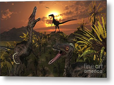A Group Of Feathered Carnivorous Metal Print by Mark Stevenson