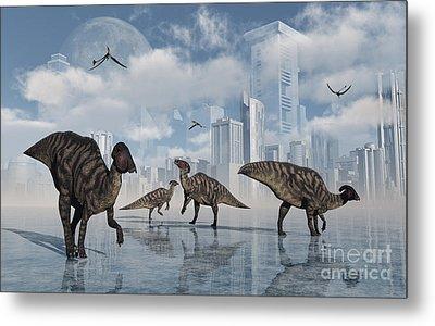 A Group Of Parasaurolophus Duckbill Metal Print by Mark Stevenson