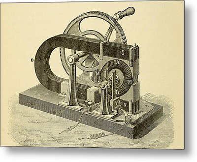 A Hand Cranked Device Onsisting Metal Print by Everett