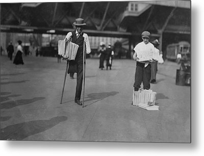 A Handicapped Man Selling Newspapers Metal Print by Everett