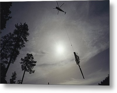 A Helicopter Lifts Cut Timber Metal Print by Joel Sartore