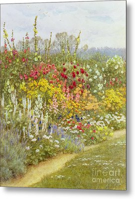 A Herbaceous Border Metal Print by Helen Allingham