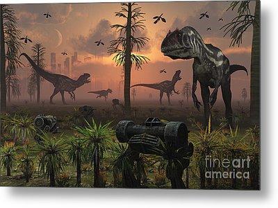A Herd Of Allosaurus Dinosaur Cause Metal Print by Mark Stevenson