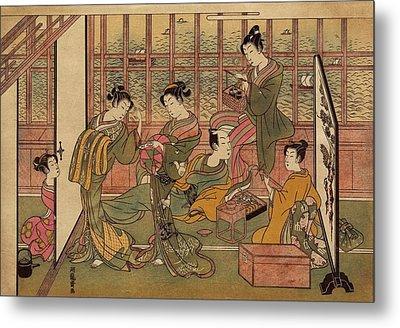 A Japanese Brothel In Shinagawa, Shows Metal Print by Everett