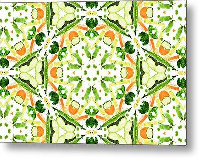 A Kaleidoscope Image Of Fresh Vegetables Metal Print by Andrew Bret Wallis