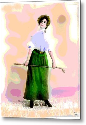 Metal Print featuring the mixed media A Ladies Game by Charles Shoup