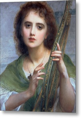 A Lady With Lyre Metal Print by Charles Edward Halle