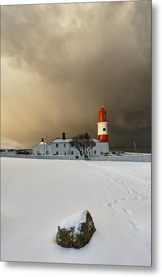 A Lighthouse And Building In Winter Metal Print by John Short
