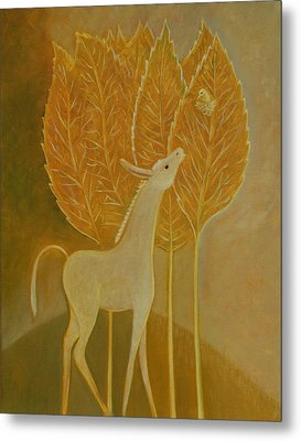 Metal Print featuring the painting A Little Golden Song by Tone Aanderaa