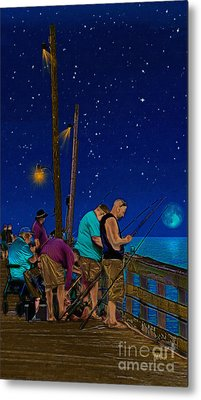 A Little Night Fishing At The Rodanthe Pier Metal Print by Anne Kitzman