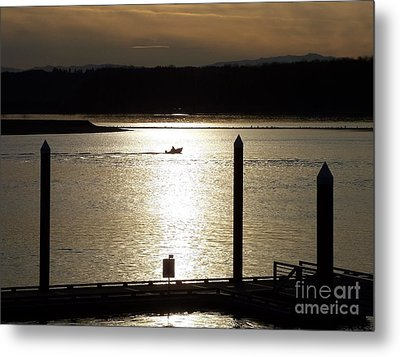 A Lone Boat At Sunset Metal Print