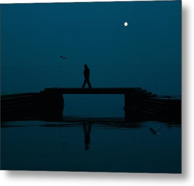 A Lone Man Metal Print by Jasna Buncic
