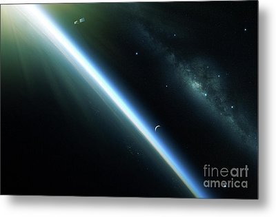 A Lone Satellite Drifts Silently Metal Print by Kevin Lafin